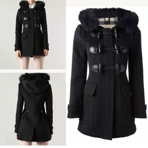 Burberry fur trim duffle wool coat